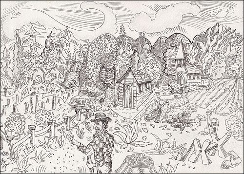 Pen and ink drawing 1995