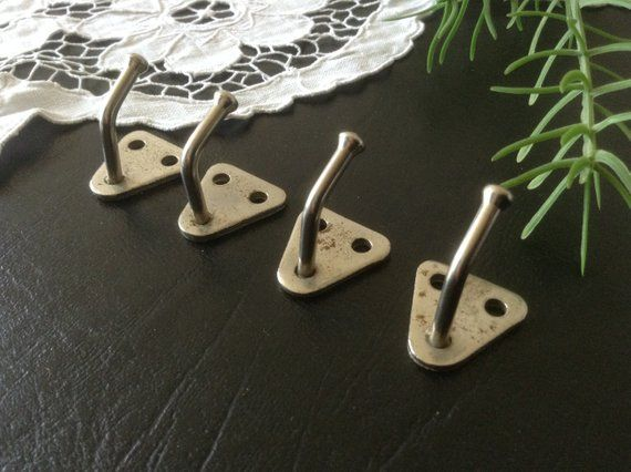 Set Of 4 Vintage Wall Mini Hooks Tiny Wall Strong Hooks Soviet Kitchen Towel Hook Ball Tip Mid Century Metal Rack Small Silver Hooks
