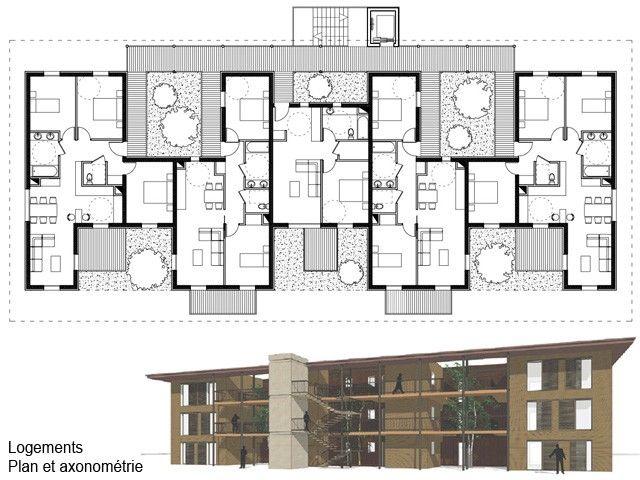 Plan immeuble logements projet 2 l2s3 pinterest for Immeuble bureau plan
