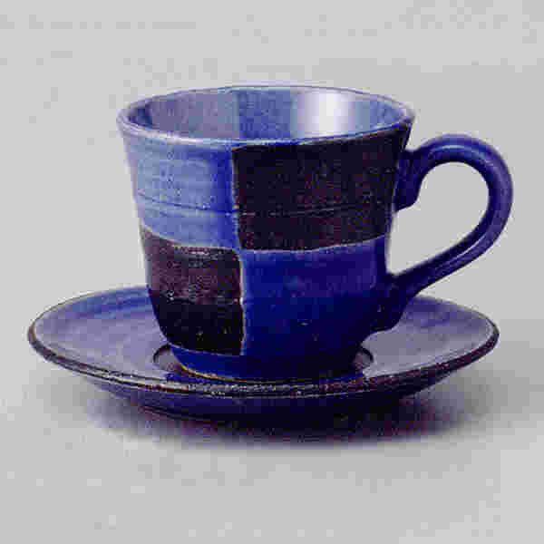 コーヒーカップソーサー 青釉市松 土物  陶器 和食器 業務用食器 商品番号:3b532-23