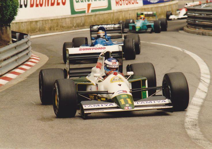 Mika Pauli Häkkinen (FIN) (Team Lotus), Lotus 102B - Judd EV 3.5 V8 (RET) Followed by Thierry Boutsen in the Ligier JS35 and Maurício Gugelmin in the Leyton House CG911 1991 Monaco Grand Prix, Circuit de Monaco