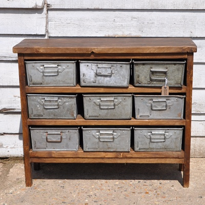Industrial Rustic Storage Unit With Vintage Metal Drawers