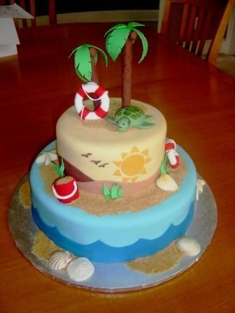 Beach Themed Wedding - Designed after Sugarshacks beach birthday cake - which I…