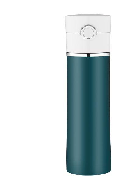 Sipp, uno degli ultimi prodotti presentati da Thermos (2011). Con coperchio facilmente apribile con una sola mano,grazie al pulsante centrale. In acciaio inox sia esternamente che internamente. Lavabile in lavastoviglie.