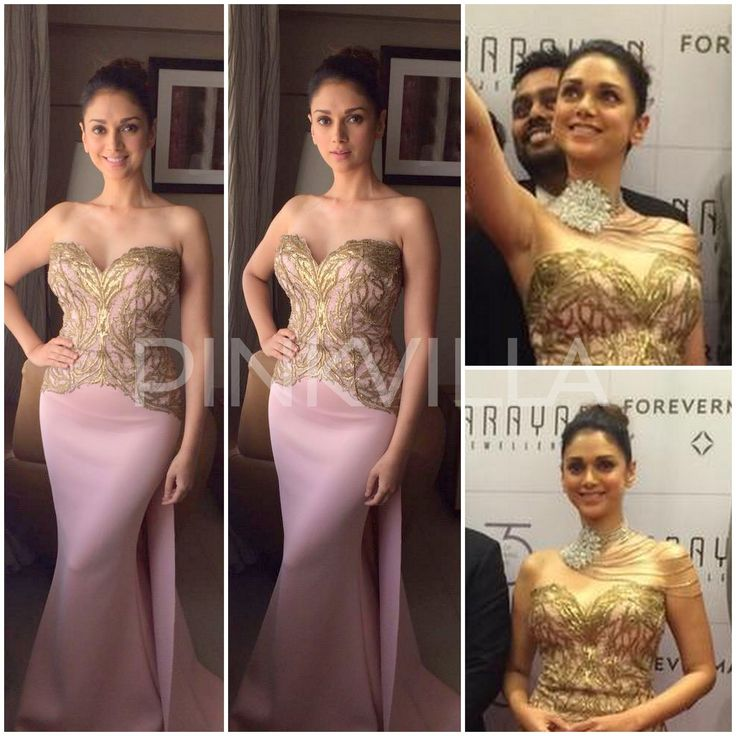 Aditi Rao Hydari in Shantanu and Nikhil Aditi Rao Hydari was in Baroda today for Narayan Jewellers where she showcased their new collection at a fashion show and press meet. She wore a gorgeous pale pink form fitting gown by Shantanu and Nikhil to the event which had gold embroidery on the bodice. The fit was impeccable on her like she was poured into the dress. I think this strapless sweet heart neckline gown was perfect as she had to wear a statement multi strand necklace for the show. She…
