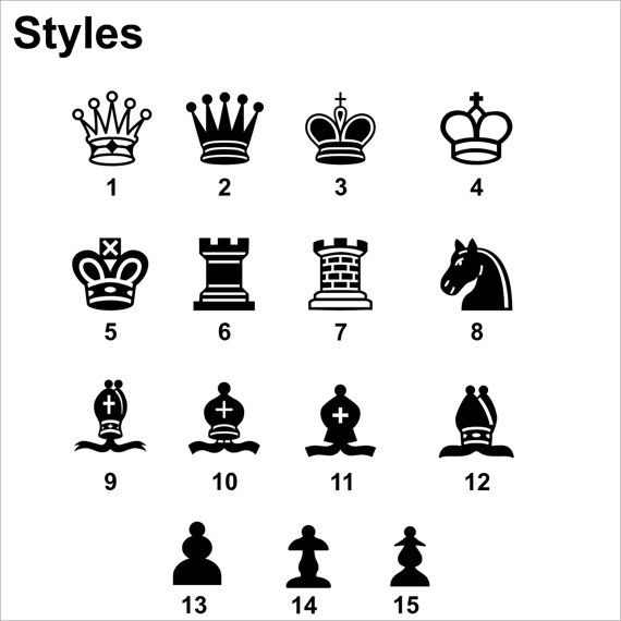 Chess Queen Wall Vinyl Decal Set of Pieces King by VINYL2079DECALS
