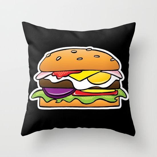 Throw Pillow - Burger on Black #popart #homedecor #society6
