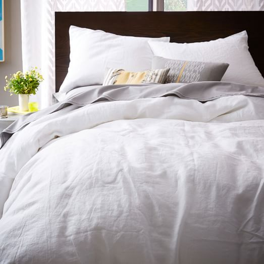 Belgian Linen Duvet Cover + Shams | West Elm - maybe master bedroom
