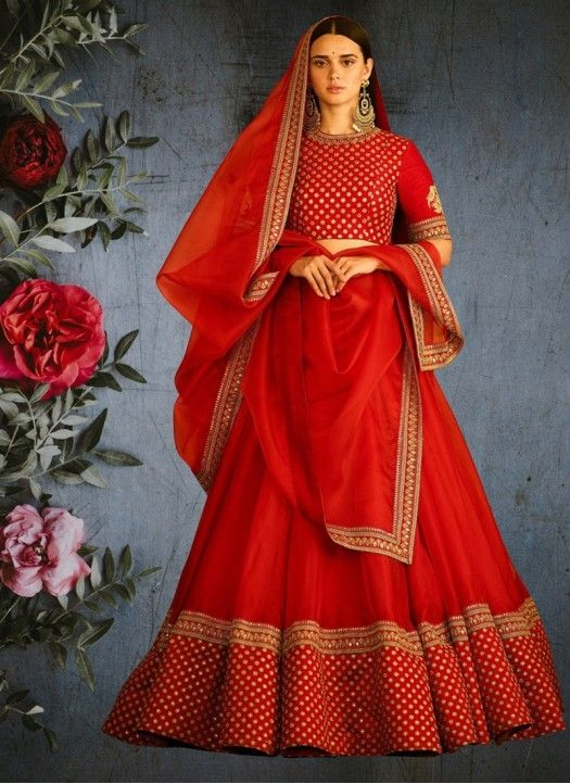7e30889d47 Buy Women's Taffeta Silk Semi-Stitched Red Lehenga Choli Online at Low  prices in India