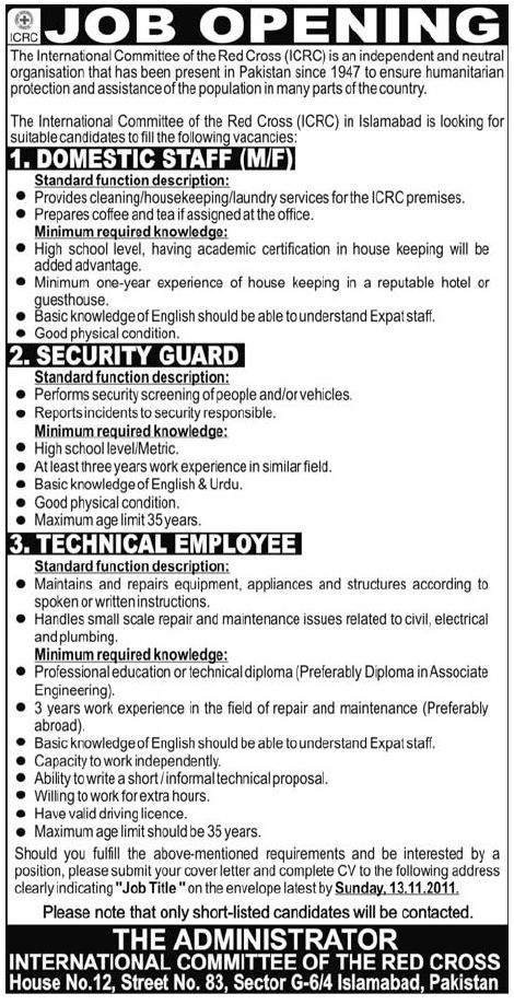 icrc jobs in pakistan
