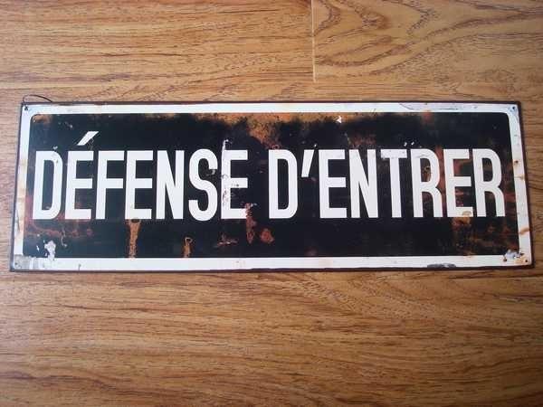 """Plaque en métal """"Défense d'entrer"""", déco rétro"""