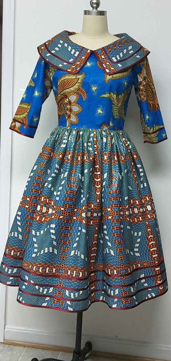 African Print Fitted Waist Dress. Rolled Collar. Inside Pockets. Trimmed. Womens Clothing. Handmade Clothing. Womens Dresses.