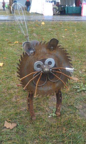 Cat - Recycled Garden Art Sculpture via Jim Billmeyer Etsy shop - saw blade face, washers, horse shoe legs, wisk tail -cute!