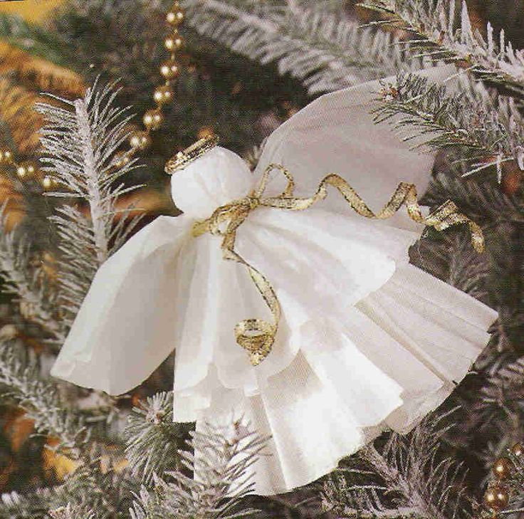 Coffee Filter Angel tree ornament - these are so easy and fun to make.  We made with a lady's group for lobby tree...great for kids groups also...you can embellish how you want! So inexpensive! We glued a gold/white ribbon hoop on back of head to hang in tree.