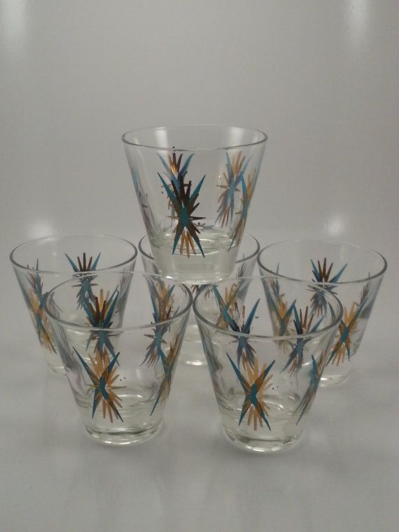 Reserved 1960s atomic starburst shot glasses set of 6 1960s glasses and shot glass set - Starburst glassware ...