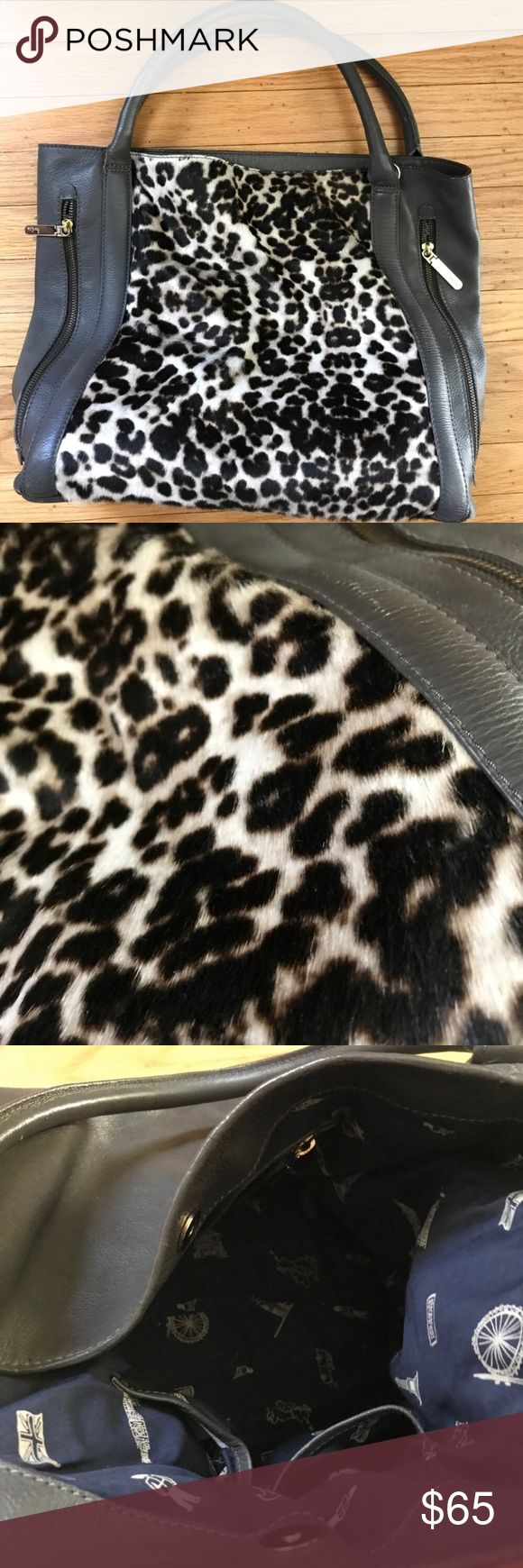 Boden Leopard Purse Used Boden Leather Leopard Print Grey  Purse Boden Bags Totes