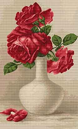 Red Roses Cross Stitch Kit by Luca S
