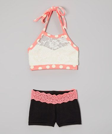 Love this Cream Lace Halter Sports Bra & Black Lace Shorts - Girls by Elliewear on #zulily! #zulilyfinds