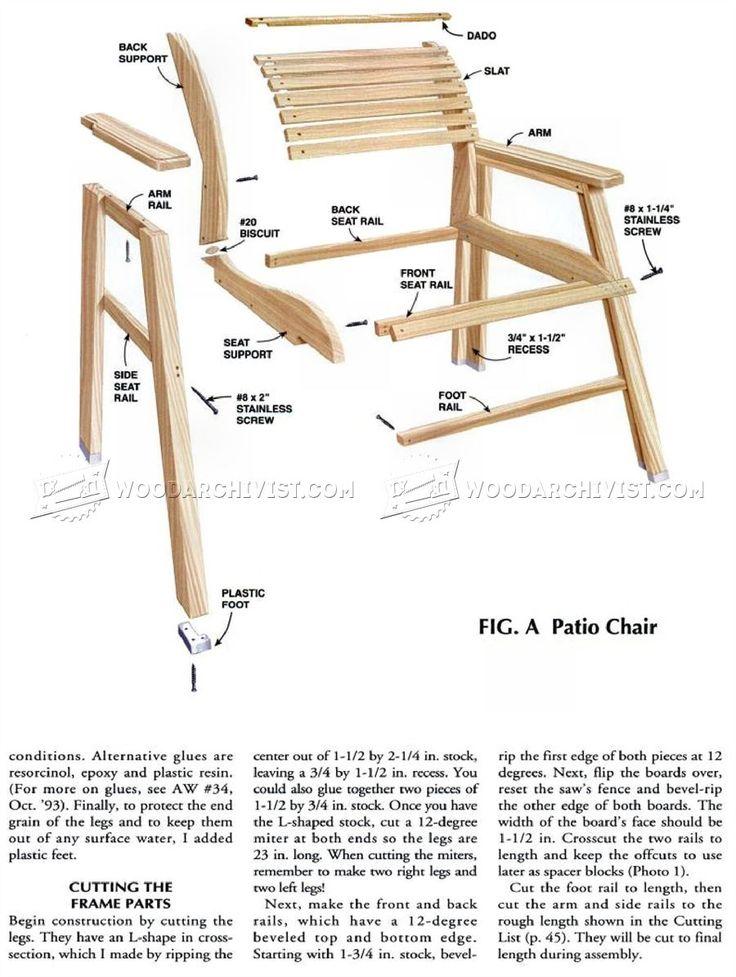 # 701 Патио планы стул - на открытом воздухе Мебель планы