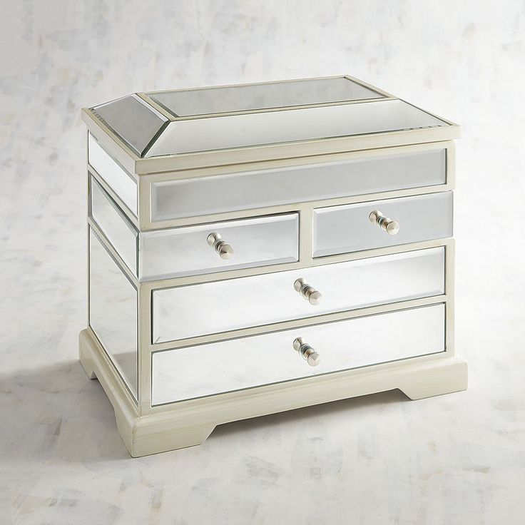 Clear Mirrored Tall Jewelry Box