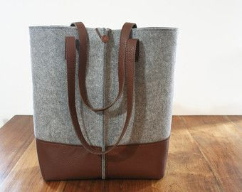 Leather tote bag handmade bagfelt bagfelt & by AlmaHandmadeInMilan