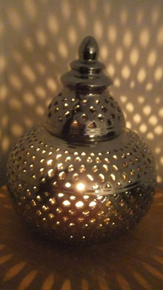 Candle Lantern Moroccan Style Satin Silver Cut Work