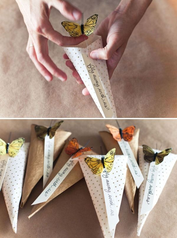 DIY Butterfly Rice Tosser by Posh Paperie + Jackie Wonders via styleme pretty: Fill these with rice or confetti for your big day. #Wedding #DIY #Rice_Thrower #stylemepretty #Posh_Paperie _Jackie_Wonder