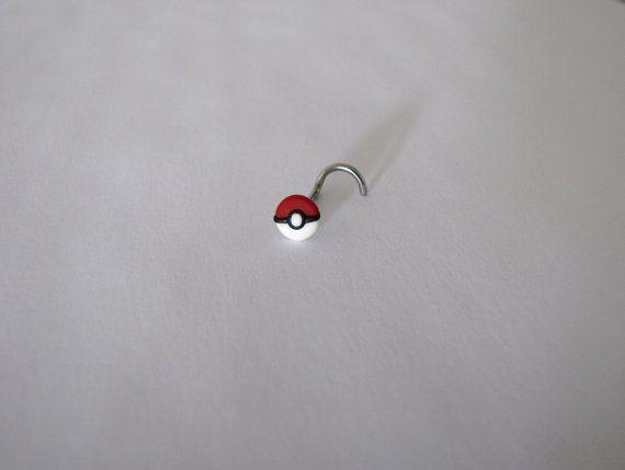 Pokemon - Poke ball polymer nose ring by FrozenFairytale on Etsy