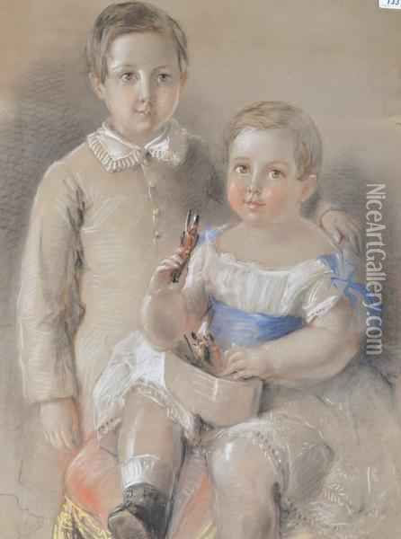 Portrait Of 2 Young Children Oil Painting - Harden Sidney Melville