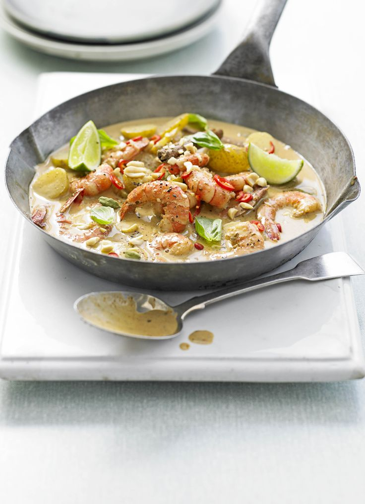 Prawn massaman curry. Massaman curry comes from southern Thailand and is not as fiery as green or red Thai curries. We love the fragrant flavours and the texture that the peanuts add