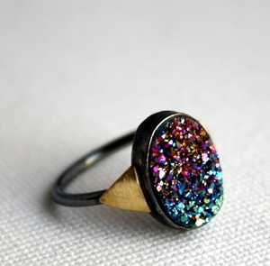 Rachel Pfeffer Designs Rainbow Drusy Ring #jewellery #ring