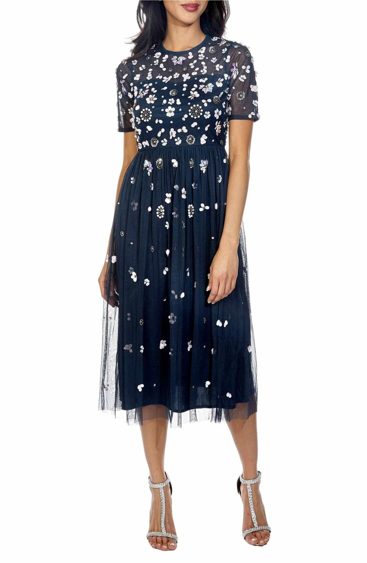 Main Image - Lace & Beads Baby Sequin Midi Dress