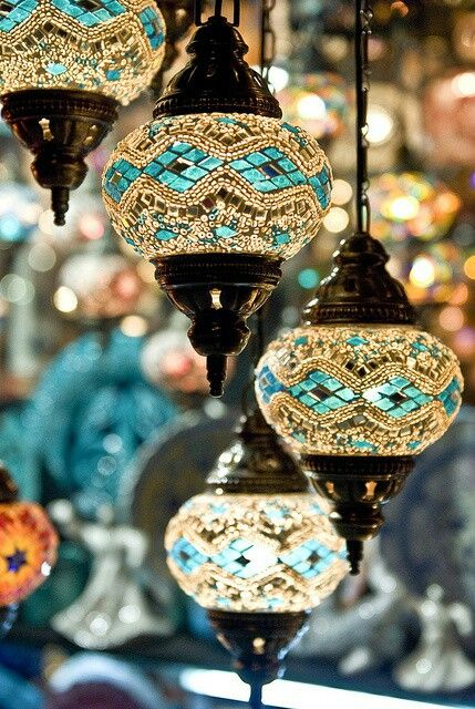 Turkish lamps hanging from the ceiling to add luxury