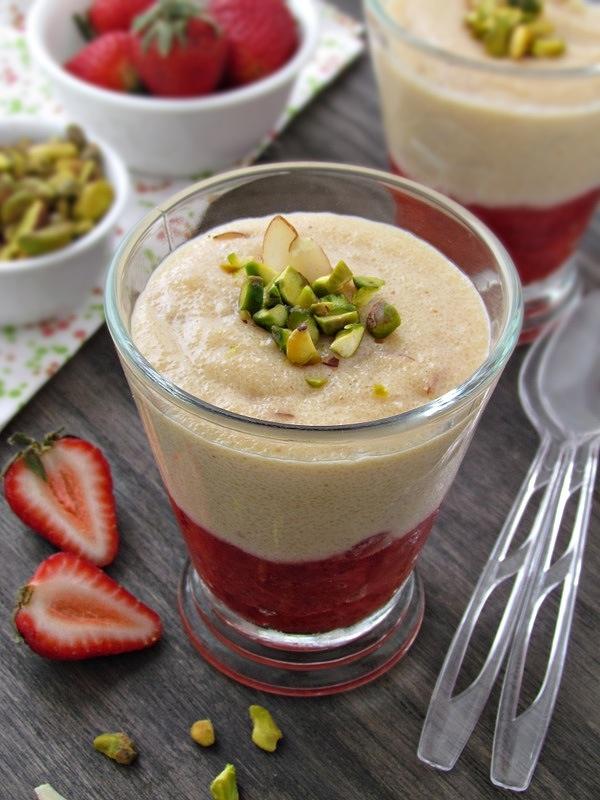 Strawberry Phirni--Indian Semolina Pudding