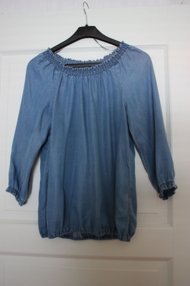 Shirt blue light denim 3/4 sleeves