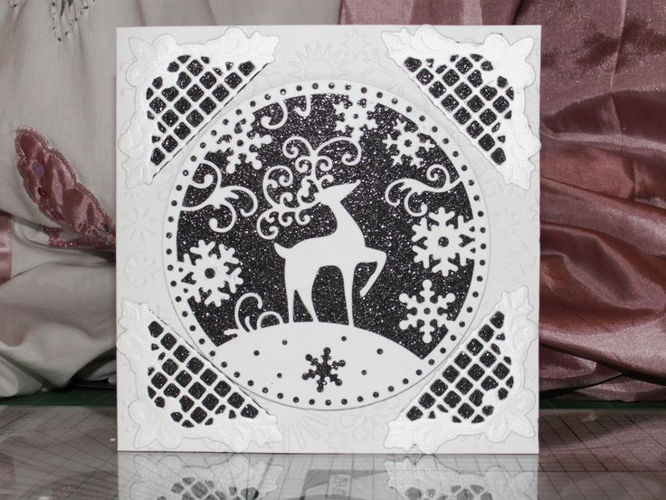 Quick and easy Christmas card using Tattered Lace SnowGlobe Reindeer. Jenny Seager www.tatteredlace.co.uk