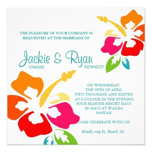 Beach Wedding Invitation Hibiscus Flower Colourful