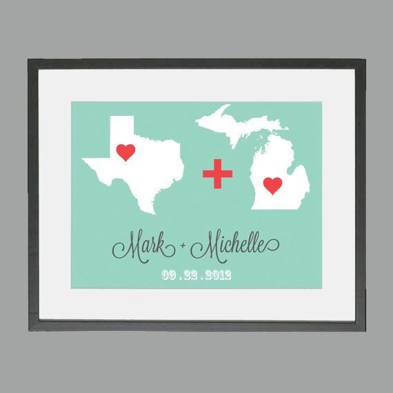 Wedding Gift Couple From Different States Love Equation Custom Print 5 x 7 on Etsy, $14.00