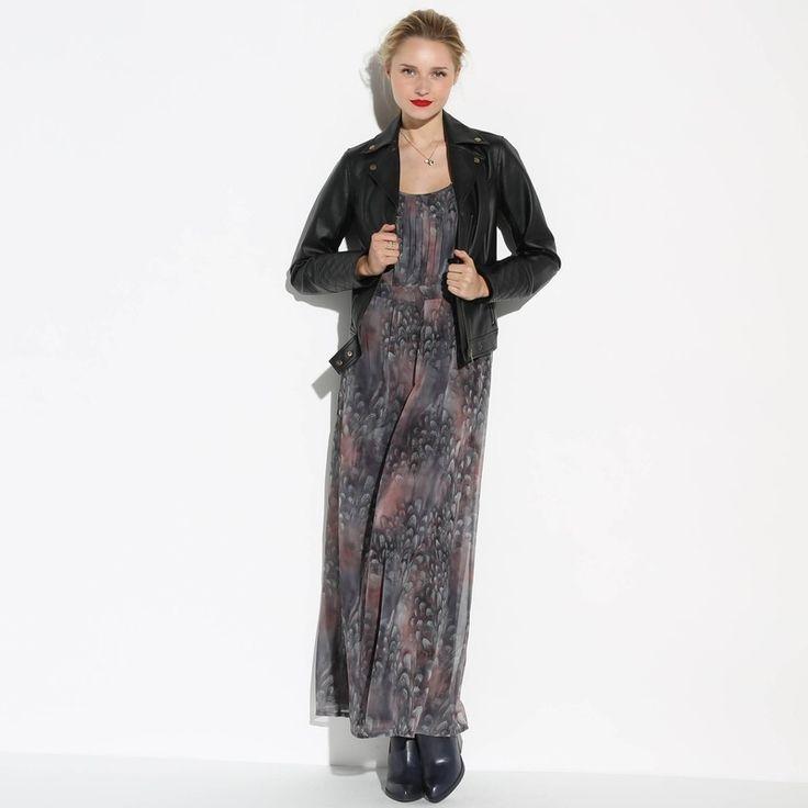 Lange gedrapeerde jurk met print