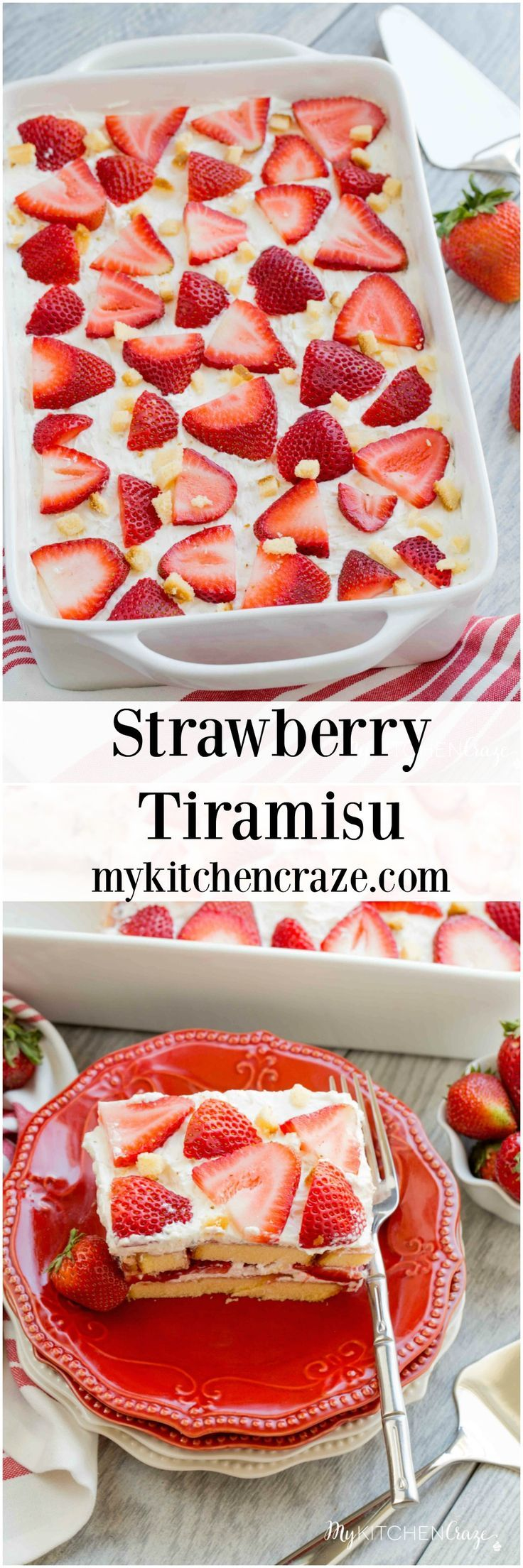 Strawberry Tiramisu ~ Enjoy this delicious and fun twist on tiramisu! Loaded with strawberries, pound cake, mascarpone cheese and cool whip. This is one dessert you won't be able to pass up!