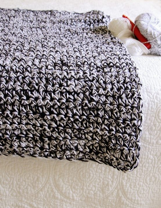 Easy one stitch crochet blanket #crochet #blanket