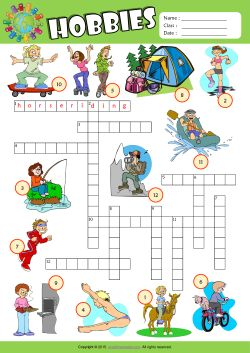 Hobbies Crossword Puzzle ESL Vocabulary Worksheet