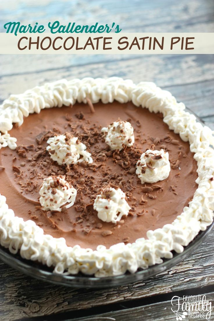 This copycat recipe of Marie Callender's Chocolate Satin Pie is pretty close to the original and much better than the frozen version you can buy at the grocery store!