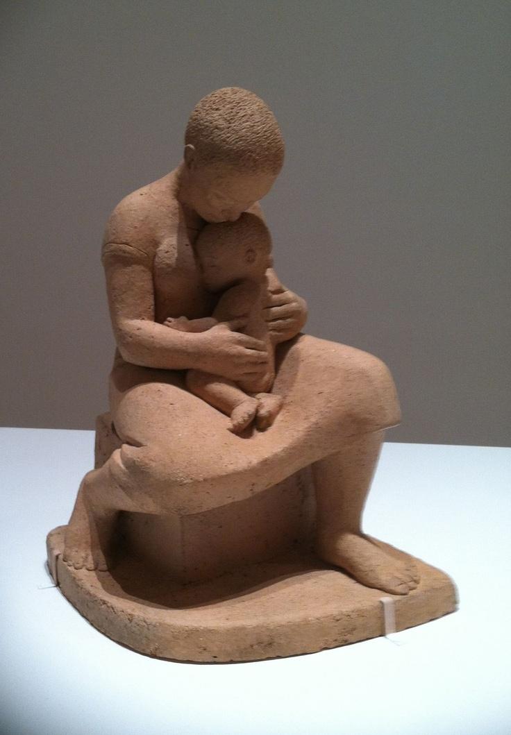 Elizabeth Catlett's Mother & Child,1950, terra cotta @ NYC MOMA Social Realism exhibit