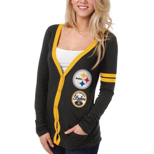 b1e536e15 Pittsburgh Steelers Ladies Slub Button-Up Long Sleeve Cardigan - Black