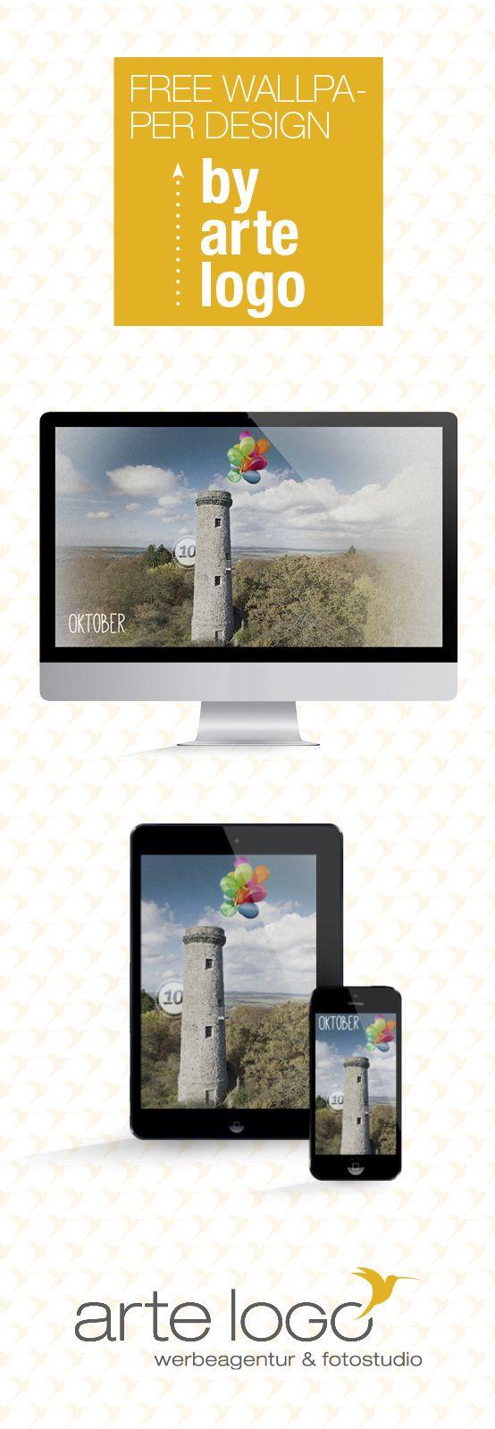 Free Wallpaper for Desktop, iPhone and iPad by arte-logo.de Free Download, Kalender 2016, selfmade, Oktober, Hainigturm, Lauterbach, Heimat, Luftballons, Denkmal, Vogelsbergkreis, Hessen