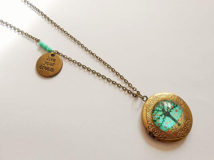 collier porte photo- collier arbre de vie - collier médaillon porte photo - collier cabochon arbre de vie - collier : Collier par esthete-bijoux
