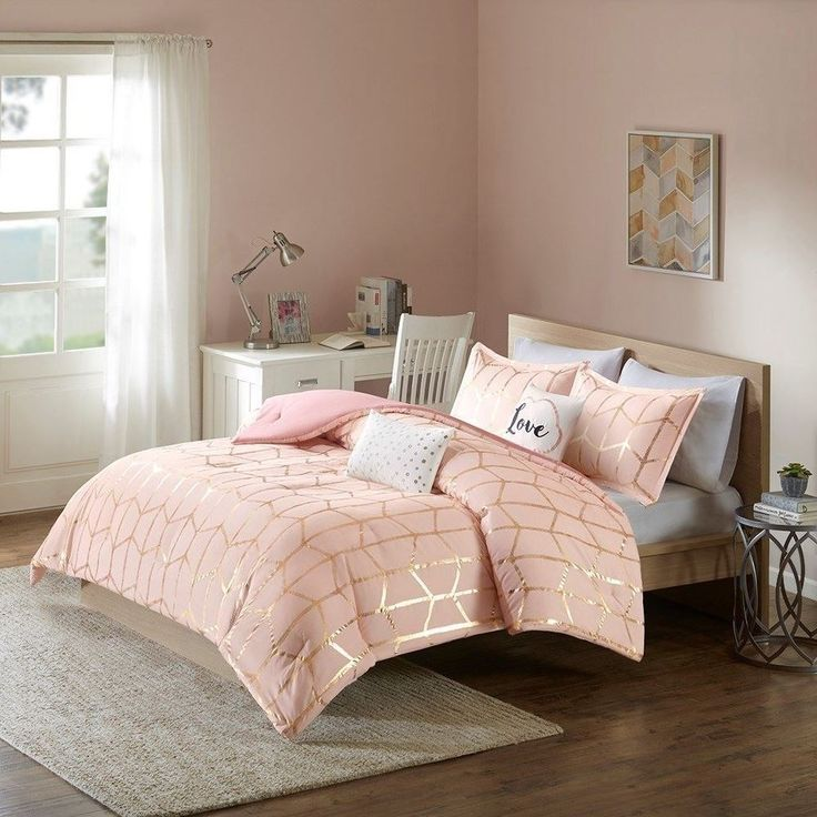 luxury pink blush metallic gold geometric comforter set and decorative pillows must have. Black Bedroom Furniture Sets. Home Design Ideas