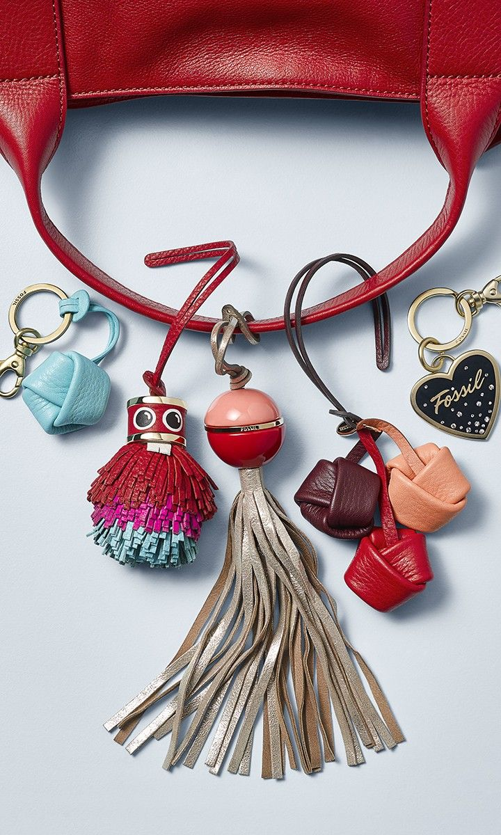 Handbag charms. Adorn the tree. Tuck them in a stocking. Attach them to a (Fossil handbag) gifgt. These teeny tiny curiosities make one big impression.