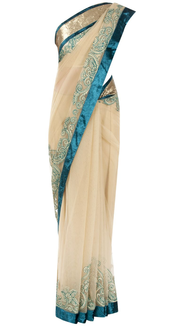 Beige sari with applique work by VARUN BAHL. http://www.perniaspopupshop.com/designers-1/varun-bahl
